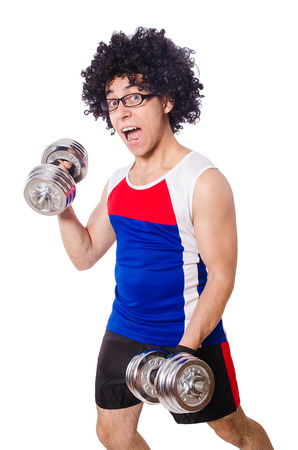 Funny man exercising with dumbbells Stock Photo - 27219552