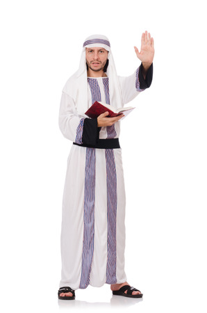 Arab man with book isolated on white Stock Photo