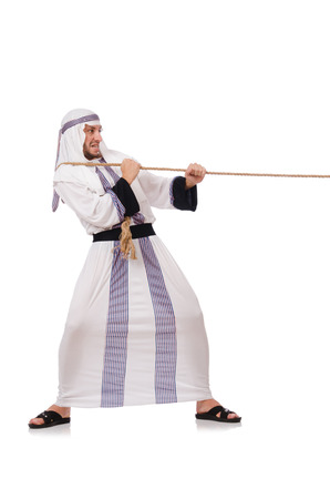 Arab man in tug of war concept photo