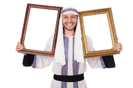 thoub: Young arab with picture frame on white