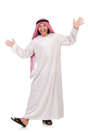 qameez: Dancing arab man isolated on white