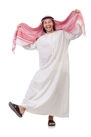 thoub: Dancing arab man isolated on white