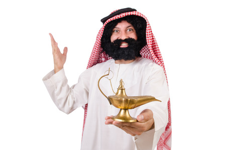 glorify: Funny arab man with lamp  isolated on white Stock Photo