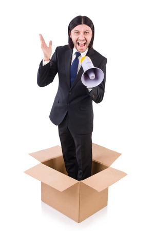 fale: Man with loudspeaker in the box