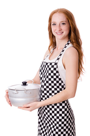 Young woman cook isolated on white photo