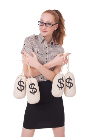 Young businesswoman with money sacks on white photo