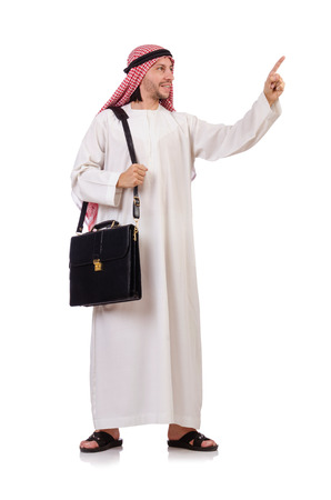 Arab man with briefcase pressing virtual buttons  isolated on white photo