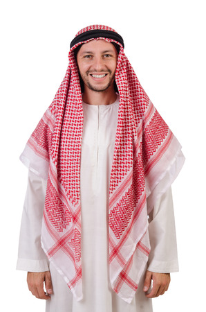 thoub: Arab man isolated on white