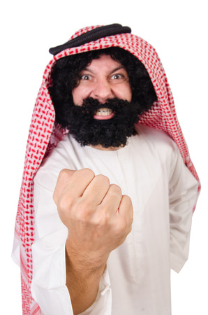 thoub: Funny threatening  arab man isolated on white Stock Photo