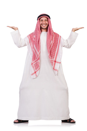 Arab man pushing away virtual obstacle isoalted on white photo
