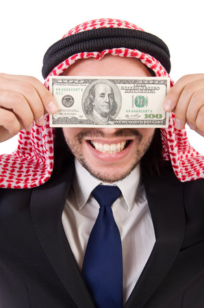 blinded: Arab businessman with money  in funny consept isolated on white