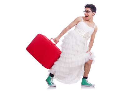 shemale: Funny man wearing in woman dress preparing on vacation  isolated on white Stock Photo