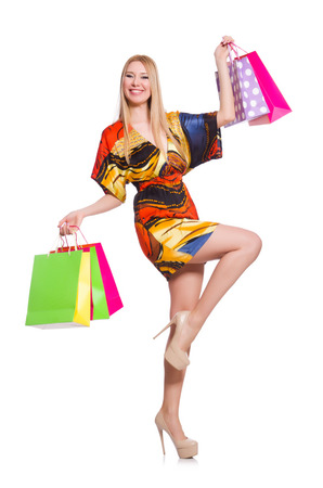 Young woman after shopping isolated on the white photo