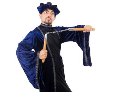nunchaks: Martial arts master with nunchucks on white Stock Photo
