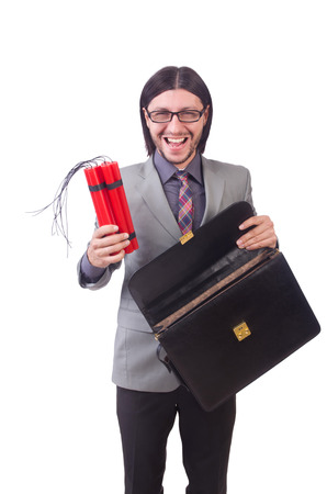 Businessman with red sticks of dynamite in terrorist  concept isolated on white photo