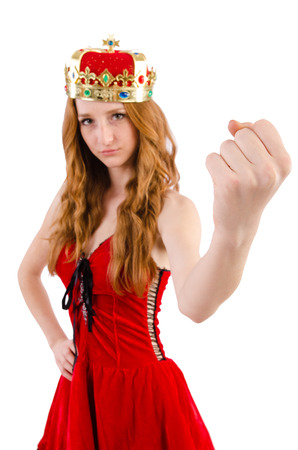 Redhead girl with crown isolated on white photo