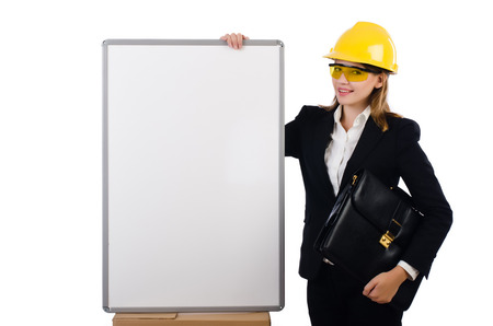 Young builder woman  with  blank board and portfolio  isolated on white photo