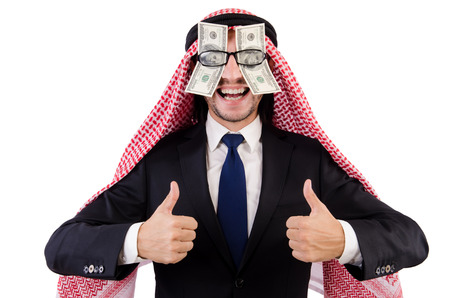 blinded: Arab businessman in eyeglasses with dollar in funny concept isolated on white Stock Photo