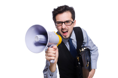 Young businessman with loudspeaker on white photo