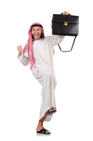 qameez: Arab man with briefcase isolated on white Stock Photo