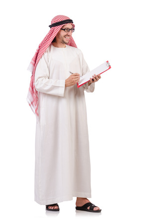 Arab man with binder isolated on white photo