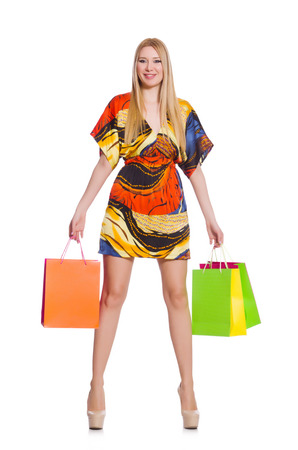 Young woman after shopping isolated on the white Stock Photo
