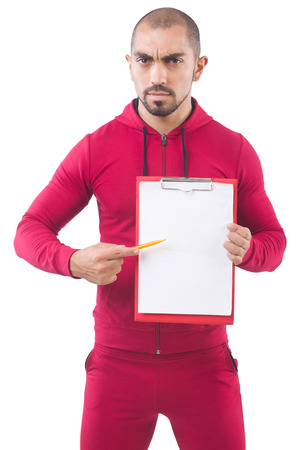 Young sportsman with binder  isolated on whit Stock Photo - 27757837