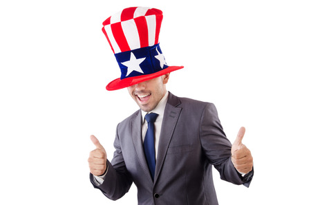 Man with american hat on white Stock Photo - 27758381