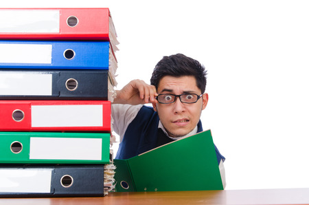 Funny man with lots of folders on white photo