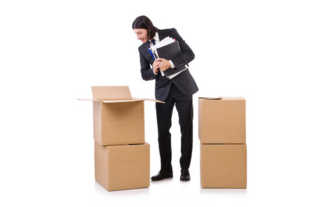 Man with boxes full of work photo