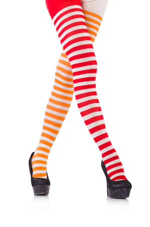 Striped leggings isolated on the white photo