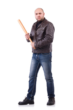 Violent man with baseball bat on white photo