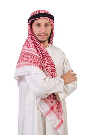 hombre arabe: Hombre árabe aislado en blanco Foto de archivo