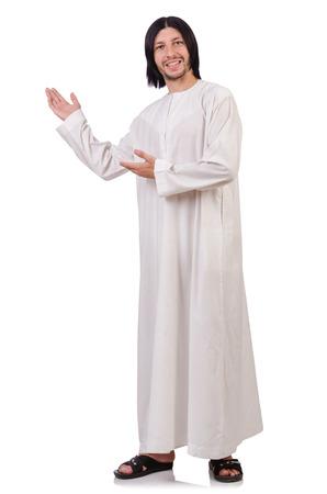 sotana: Joven sacerdote con la biblia aislados en blanco