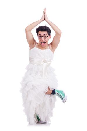 shemale: Funny dancing  man wearing in woman dress isolated on white
