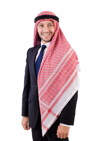 qameez: Arab man in positive concept isolated on white