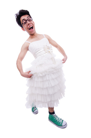 shemale: Funny man wearing in woman dress isolated on white