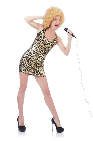 Singer  woman with mic isolated on white photo