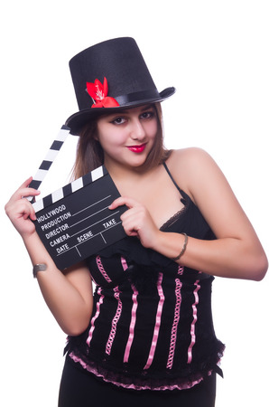 Young woman with movie board on white Stock Photo - 27972878