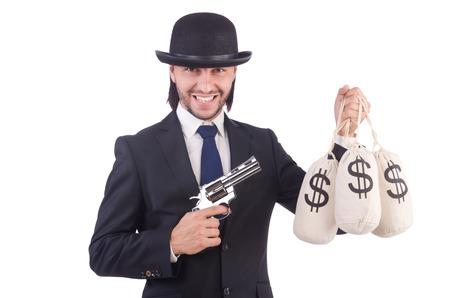 Businessman criminal with sacks of money photo