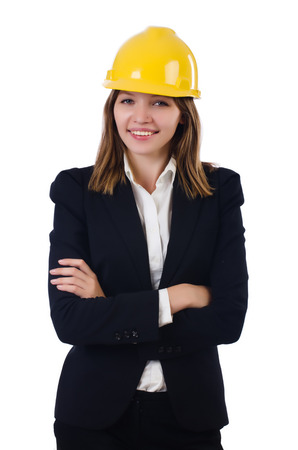 Young businesswoman with hard hat isolated on white Stock Photo - 27973202
