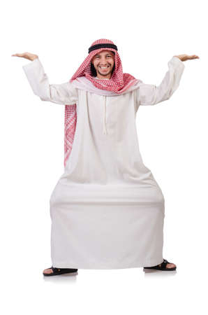 thoub: Arab man pushing away  virtual obstacle  isolated on white