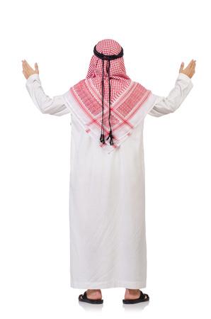 thoub: Praying arab man isolated on white