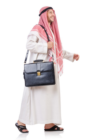 thoub: Arab businessman with briefcase isolated on white Stock Photo