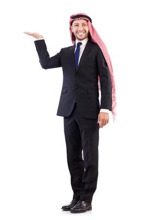 qameez: Arab man holding hands isolated on white Stock Photo