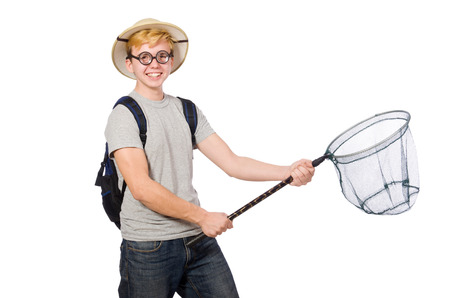 Funny guy with catching net on white photo