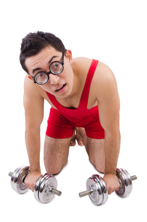 funny guy: Funny guy with dumbbels on white
