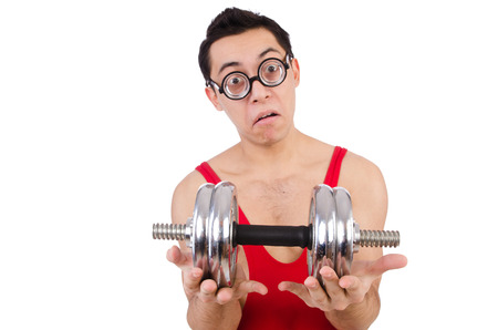 Funny guy with dumbbels on white Stock Photo - 28026375