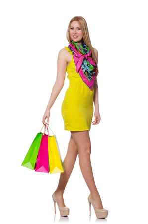Woman after shopping isolated on the white Stock Photo - 28026385