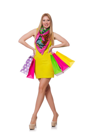 Woman after shopping isolated on the white Stock Photo - 28026393